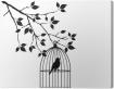 tableaux-sur-toile-vecteur-oiseau-dans-une-cage-a-l-39-arbre